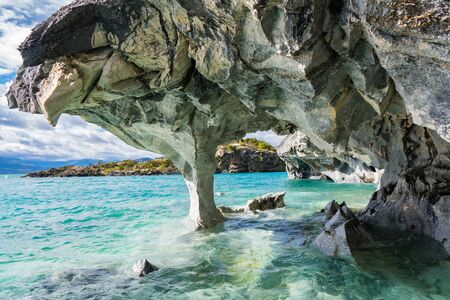 Marble caves (Capillas del Marmol), General Carrera lake, landscape of Lago Buenos Aires, Patagonia, Chile