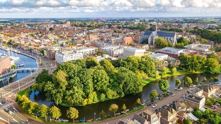 Aerial drone view of Alkmaar town cityscape from above, typical Dutch city skyline with canals and houses, Holland, Netherlands Stock Photo