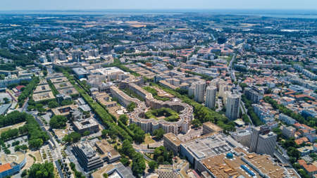 Aerial top view of Montpellier city skyline from above, Southern France Editoriali