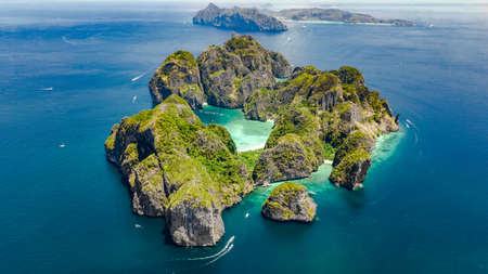 Aerial drone view of tropical Ko Phi Phi island, beaches and boats in blue clear Andaman sea water from above, beautiful archipelago islands of Krabi, Thailand Reklamní fotografie