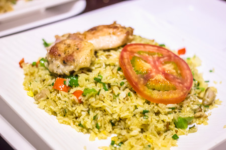 multiple objects: Fried rice with chicken