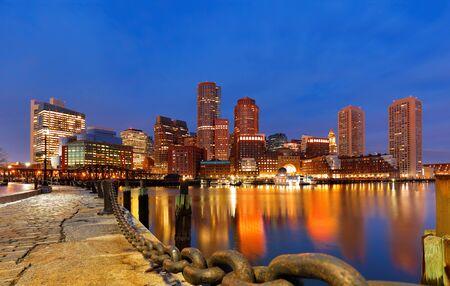 Boston Financial District bei Sonnenaufgang, Boston, Massachusetts, USA