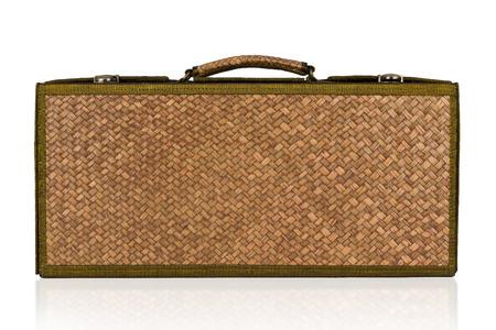 wick: Retro wick travel bag vintage isolated on white background. Stock Photo
