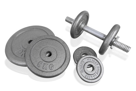weightlifting gloves: Fitness exercise equipment silver dumbbell and weights plate isolated on white background.