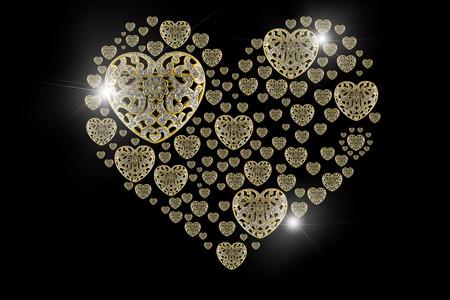 precious: Diamond Gold flare and precious stones isolated on black background. Stock Photo
