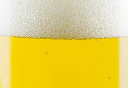 beer bubbles: Beer bubbles close-up in glass. Stock Photo