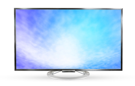 Television monitor texture sky isolated on white background. 版權商用圖片