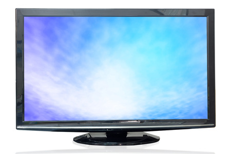watching television: Television monitor texture sky isolated on white background. Stock Photo