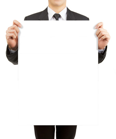 Business man holding blank paper isolated on white background. Stockfoto