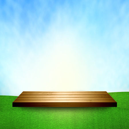sky grass: Wood shelf on sky grass floor.