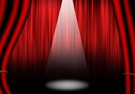 オブジェクトを塗りつぶす: 赤いカーテンの劇場のステージ。白で隔離。