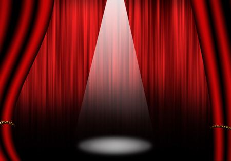 Fill object : Stage of Theater with red curtain. Isolated on white. Stockfoto