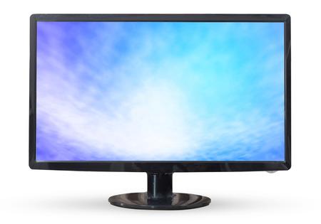 viendo television: Cielo televisi�n o monitor de PC paisaje aislados sobre fondo blanco.