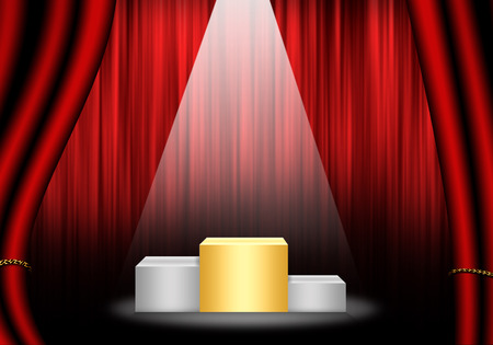 Fill object : Flare Stage with red curtain and pedestal gold rank.
