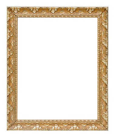 The antique gold vintage frame luxury premium isolated white background. Stockfoto