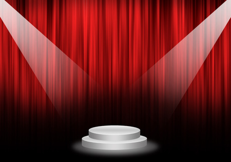 Fill object : Flare two spotlight focus Stage with red curtain and pedestal circle.