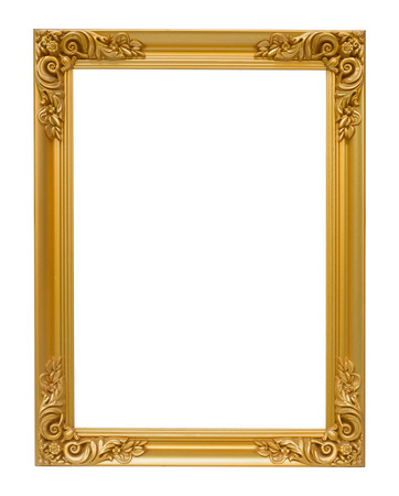 The antique gold vintage frame luxury isolated white background.