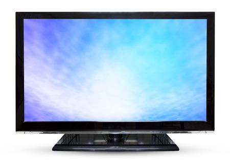 monitor de computadora: Cielo televisor o monitor paisaje aislados sobre fondo blanco.