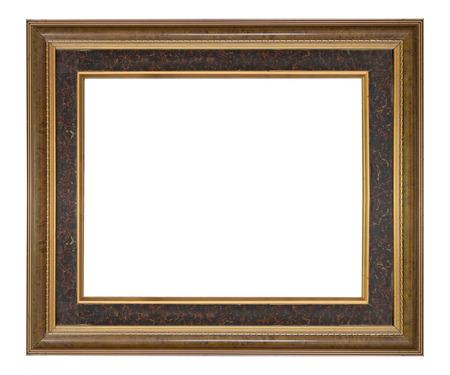 antique frames: Wooden frame modern vintage isolated white background. Stock Photo