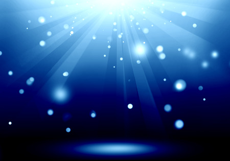 Abstract image of blue lighting flare on the floor stage : Fill object