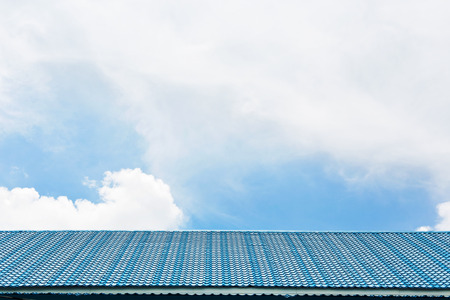 Blue tile roof on the sky. Stock Photo