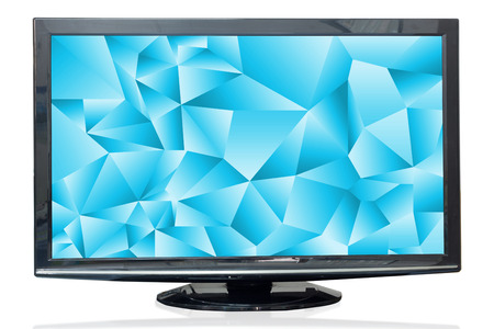 tv monitor: Television monitor texture sky isolated on white background. Stock Photo