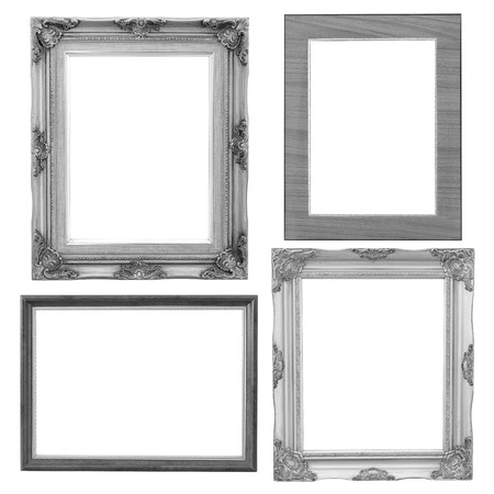 vintage photo frame: Set of silver frame and wood vintage isolated on white background.