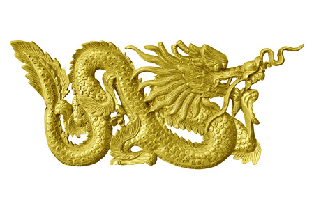 Golden dragon statue isolated white background.