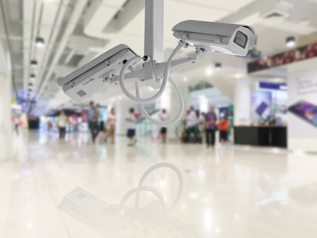 CCTV Security camera shopping department store background. Stockfoto