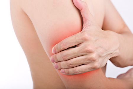 Close up male arm pain isolated white background. Stock Photo