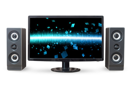 woofer: Monitor PC landscape and sound woofer isolated on white background.