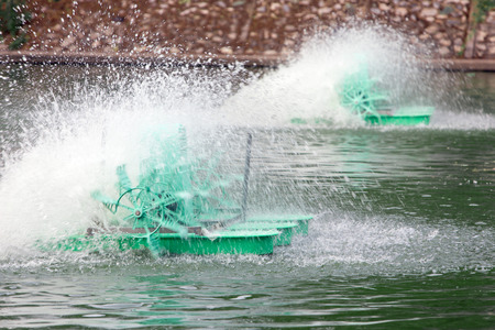 aerator: Surface aerator low speed motor hydro water. Stock Photo
