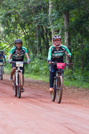 SA KAEW, THAILAND - Junel 28, 2015 : Bicycle racing competition Pang Si Da cross country in Thailand.