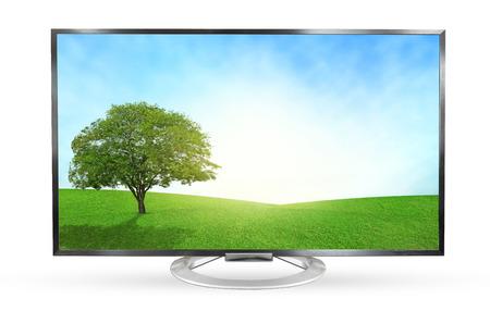 télé: moniteur de télévision en mode paysage isolé sur fond blanc.