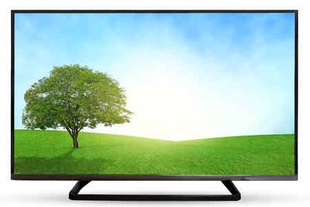 viendo television: Cielo televisor o monitor paisaje aislados sobre fondo blanco.