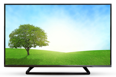 led display: Television sky or monitor landscape isolated on white background.