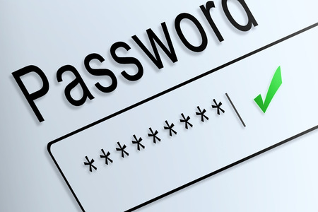 beware: Close-up type password correct protect on screen, beware social online. Stock Photo
