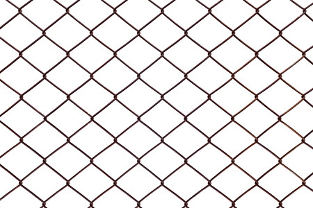 chain link fence: Steel mesh rusty isolated on white background. Stock Photo