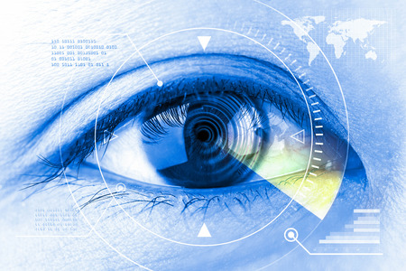 contact information: Close up women eye scanning technology in the futuristic.