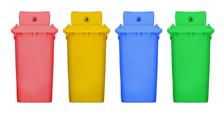hazardous waste: Different colors recycle bins isolated white background