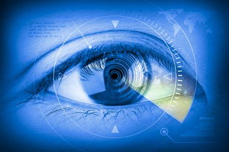 futuristic eye: Close up women eye scanning technology in the futuristic.