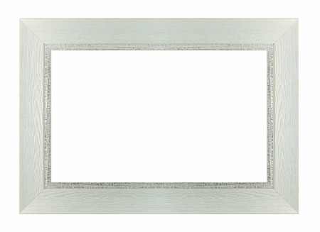 rectangle: Wood white frame rectangle isolated white background Stock Photo