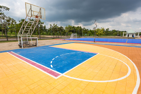 playground basketball: Outdoor street basketball court. Stock Photo