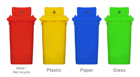 hazardous metals: Different colors of recycle bins isolated white background