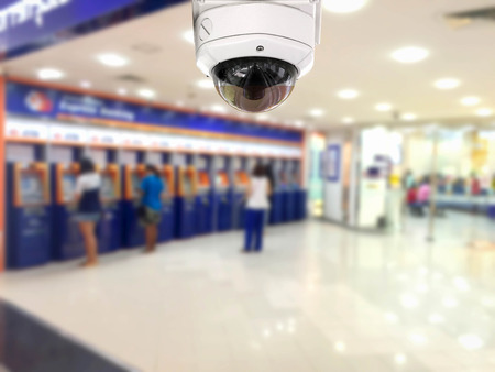 cctv security: CCTV Security camera Auto teller machine(ATM)  area background.