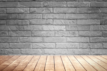 brick texture: Blick brown wall background and wood shelf.