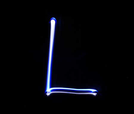 neon letter: L Lima alphabet hand writing blue light  over black background.