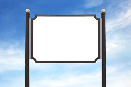 plywood: Medium Billboard wooden sign post outdoor on the sky background.