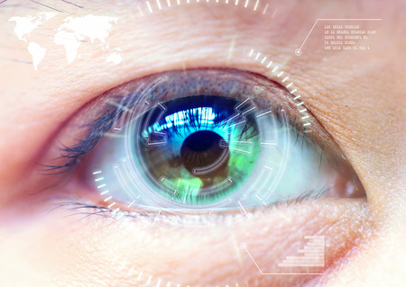 green eye: Close up women eye scanning technology in the futuristic, operation, eye cataract. Stock Photo