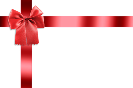 gold bow: Beautiful red ribbon with gold bow isolated white background.